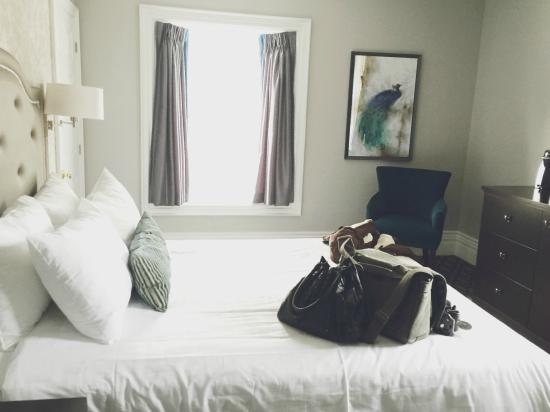 Idlewyld Inn & Spa : A blue themed single room (don't mind my bags on the bed haha!)