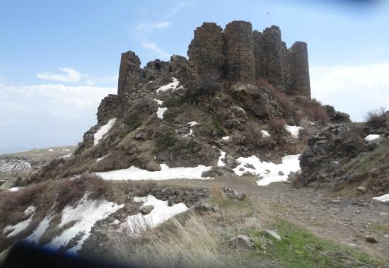 Byurakan, Armenia: Amberd Fortress view from underneath, at the time of the thaw