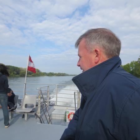 Vienna to Bratislava Hydrofoil: My husband on the windy top deck.