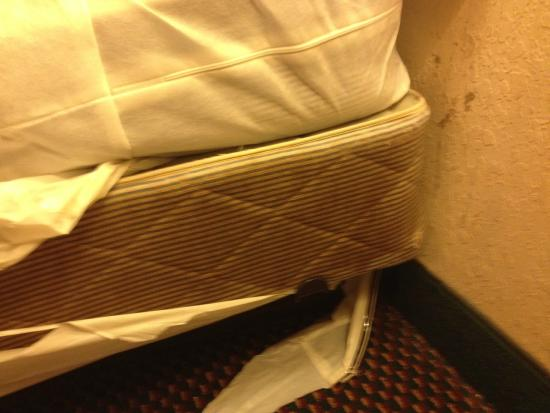 Haven Inn & Suites: Bed Box Springs Filthy, Stained and Allowed in All Rooms