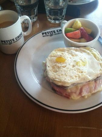 Petite Chou: Croque madame with fruit and coffee