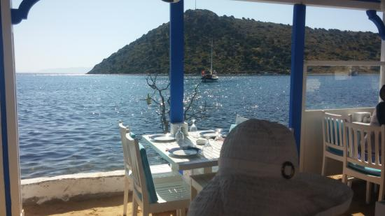 Karafaki: View of Gumusluk Bay and the Agean Sea from the restaurant's tables