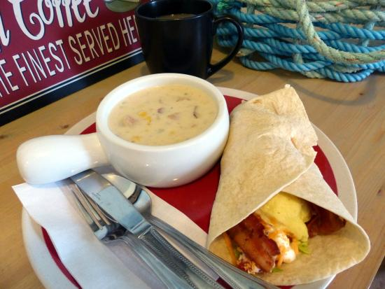 The Beandock: Corn & Bacon Chowder with Breakfast Wrap