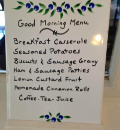 Wildflower Bed and Breakfast-On the Square: Saturday Breakfast Menu