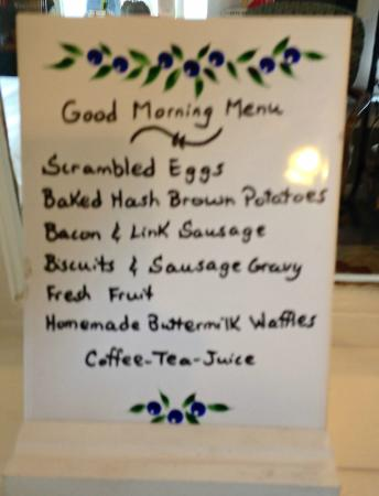 Wildflower Bed and Breakfast-On the Square: Sunday Breakfast Menu