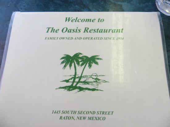 Oasis Restaurant: Menu