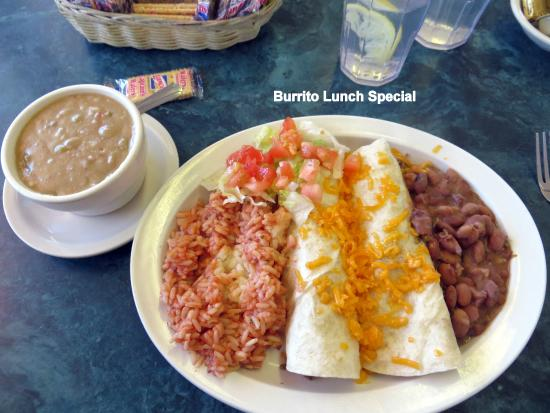 Oasis Restaurant: Burrito Special with green sauce on side