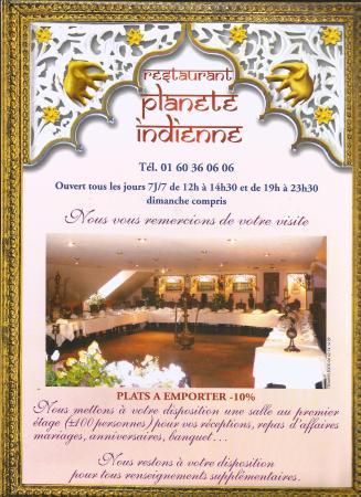 Restaurant Plante Indienne Since 1998 Carte