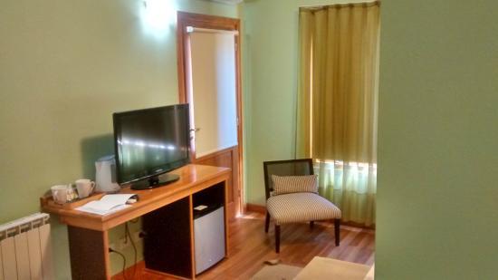 Hosteria El Coiron: Tele, frigobar y pava electrica con tazas y te para hacerte en la habitacion.