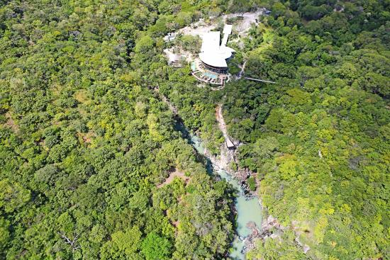 Bagaces, Costa Rica: Aerial photograph of Restaurant, Mineral Pools, and 3 Rivers Convergence.