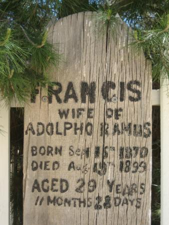 Old Kernville Cemetery : This tombstone is a piece of wood with information painted on.