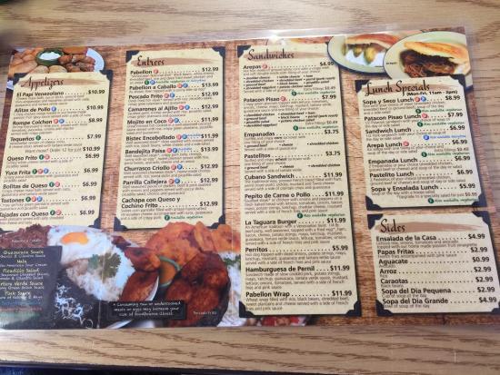 The menu picture of la taguara venezuelan and latin for American cuisine menu