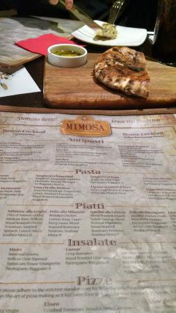 Pizzeria Mimosa: menu