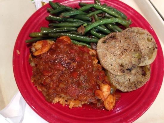 Tamarack: Blackened catfish w creole sauce. Fried green tomatos