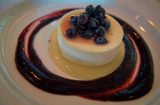 The Vine Restaurant: meyer lemon panna cotta with blueberry coulis