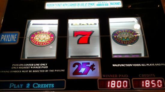 Casino at Don Laughlin's Riverside Resort: two triple diamonds and a 7,            50 cents in, $450.00 paid out