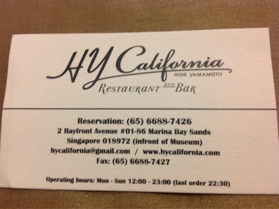 HY California : Visittkort
