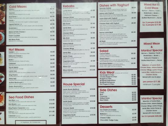 Ruislip, UK: Menu