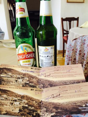 Neemrana Fort-Palace: CHEATING-Date on labels of kingfisher beer intentionally tampered-CHEATING...