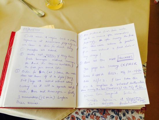 Neemrana Fort-Palace: Complaint in the feedback book at Neemrana Fort Palace but no Acknowledgment or Corrective Actio