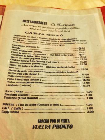 El Tulipan: The menu