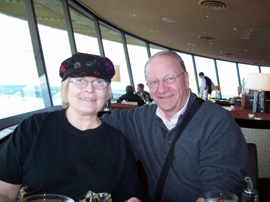 Space Needle Sky City: Photo of Dale and Betty Alsager with view from Sky City Restaurant by Pam Briggs South Africa