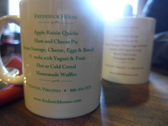 Frederick House: Breakfast menu on coffee cup