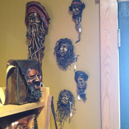 Historic Greenwood: Handmade Leather Faces for Sale at the Tarnished Turkey