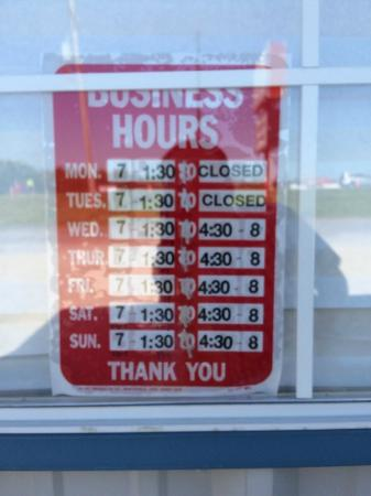 Pizzo's Restaurant: Posted business hours as photographed on 4/30/2015