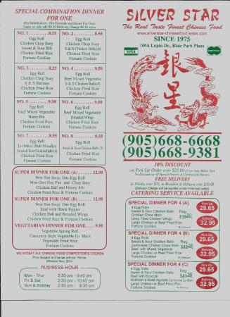 Menu picture of silver star chinese food whitby for Asian cuisine oshawa