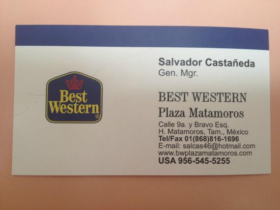 BEST WESTERN Hotel Plaza Matamoros: Contact information