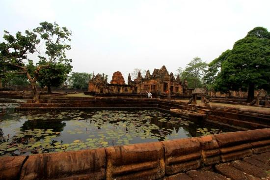 Prasat Hin Mueang Tum: A view of the moots surrounding the central buildings of the Khmer Temple