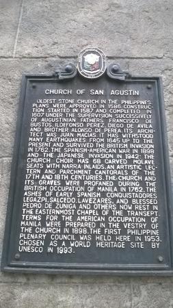 San Agustin Museum: plaque exterieur