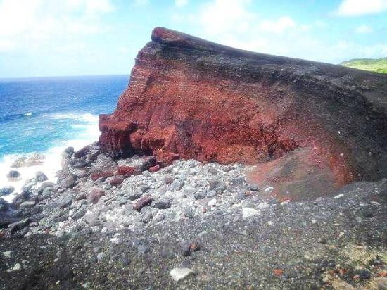 Miyake-jima, Japan: Volcano rockface with beautiful red color!