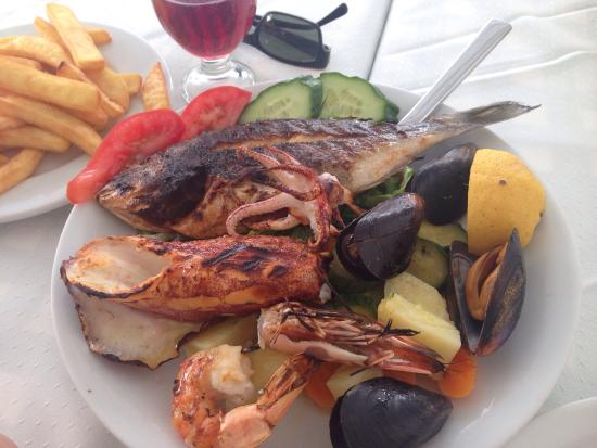 Kostas plate- one shrimp, 4 mussels, one fish, one baby octopus and one small calamari