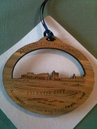 absecon lighthouse giftshop sells christmas ornaments made from boardwalk destroyed by hurricane sandy