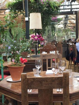 Petersham Nurseries Cafè: One of the tabled prepared for a weding party