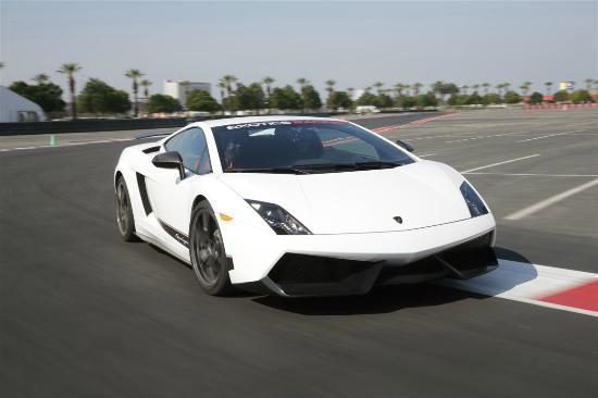 Exotics Racing - Los Angeles: Lamborghini Superleggera racing on track at Auto Club Speedway