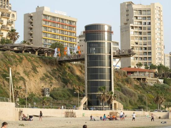 Residence Hotel: View of hotel from beach - left side of picture and elevator to beach