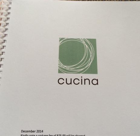 Cucina Restaurant : Logo on menu