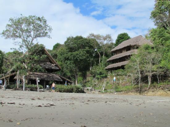 Playa Escondida: Standing in the water, looking back to the resort.  Dining on left, rooms on right