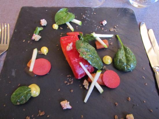 Les Tables du Prince Noir : Beetroot cured salmon.