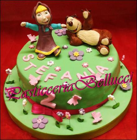 Torta Di Compleanno Decorata Pasta Di Zucchero Masha E Orso Foto
