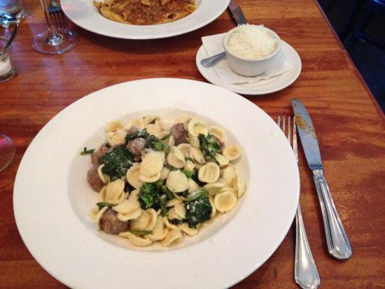 Orrichetti with sausage and broccoli rabe.