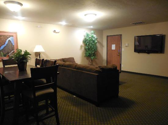 Blue Mountain Inn Suites Presidential Suite Has Separate Room With Huge Sectional Sofa