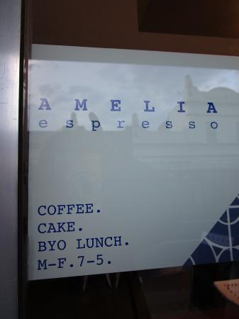 Amelia Espresso: Window signage