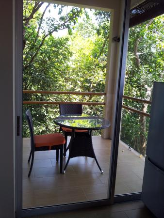 View of private balcony from kitchen