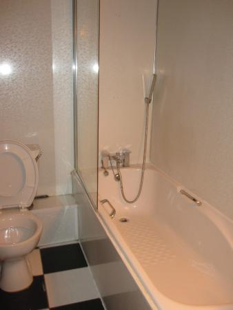 Whites Hotel: Little person shower?