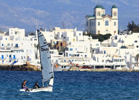 Naoussa Sailing Team: Naoussa view, Omega sailboat