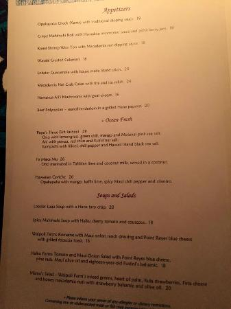 Menu picture of mama 39 s fish house paia tripadvisor for Mamas fish house lunch menu